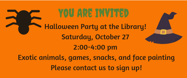 Join us for our Halloween Party on Saturday October 27