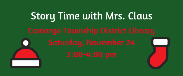 Join us for Story Time with Mrs. Claus at the Library